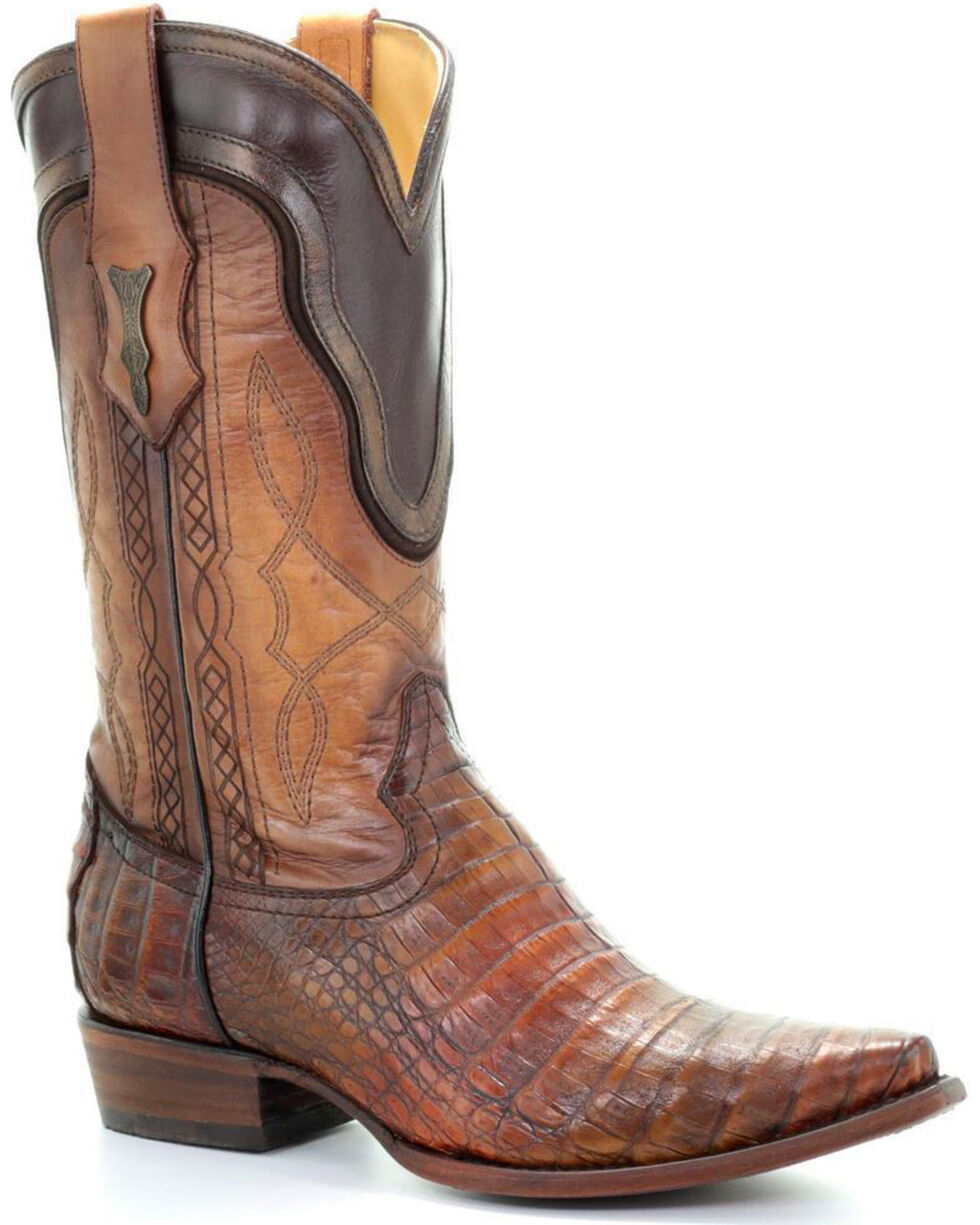 Corral Men's Brown Caiman Contrast Collar Cowboy Boots - Snip Toe, Brown, hi-res