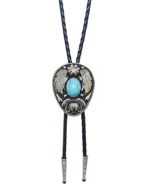 Western Express German Silver Turquoise Bolo Tie, Black, hi-res