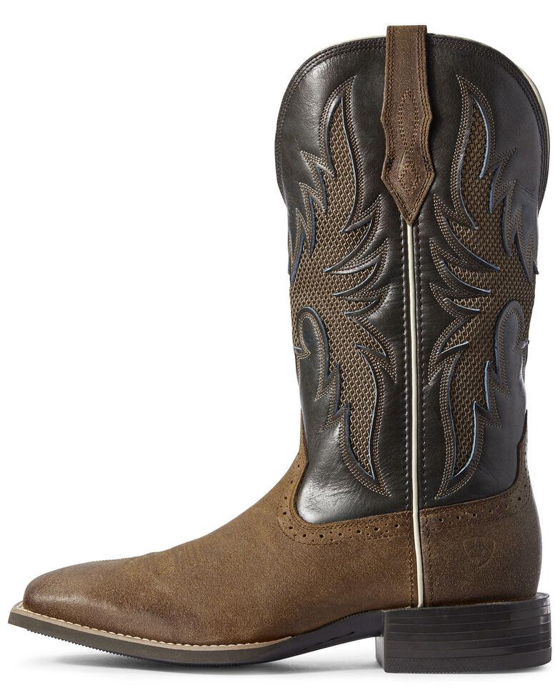 Ariat Men's Sport Breezy VentTEK Western Boots - Wide Square Toe, Brown, hi-res