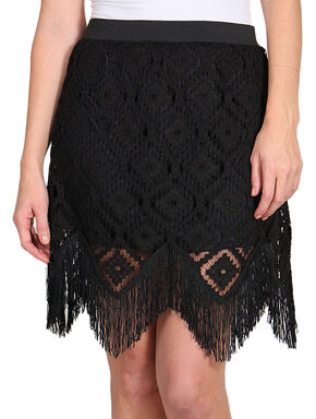 Wrangler Women's Black Lace Fringe Skirt, Assorted, hi-res