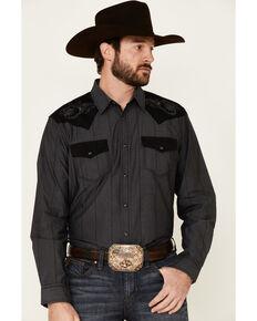 Moonshine Spirit Men's Rock Star Solid Embroidered Long Sleeve Western Shirt , Charcoal, hi-res