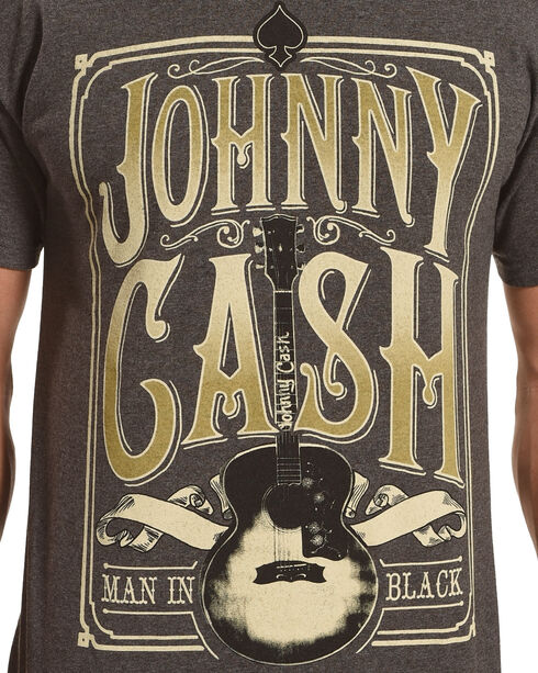 Merch Traffic Men's Grey Johnny Cash Signature Guitar Tee , Heather Grey, hi-res