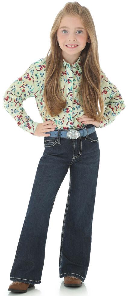 "Wrangler Girls' Indigo ""W"" Swish Embroidery Jeans - Boot Cut, , hi-res"