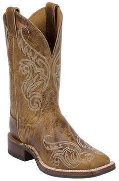 Justin Bent Rail Tan Damiana Cowgirl Boots - Square Toe, Tan, hi-res