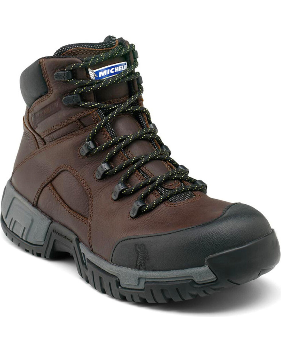 "Michelin Men's HydroEdge WP 6"" Work Boots - Steel Toe, Black, hi-res"