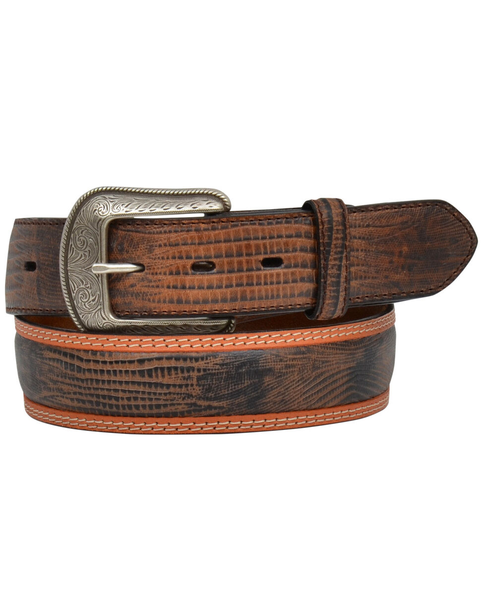 3D Men's Brown Lizard Print Western Belt , Brown, hi-res