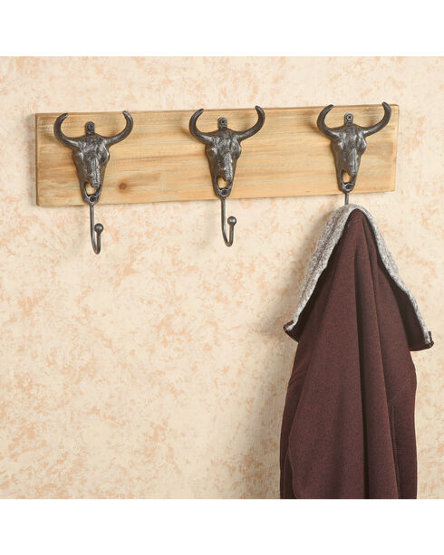 BB Ranch Reclaimed Wood Longhorn Wall Hooks, No Color, hi-res