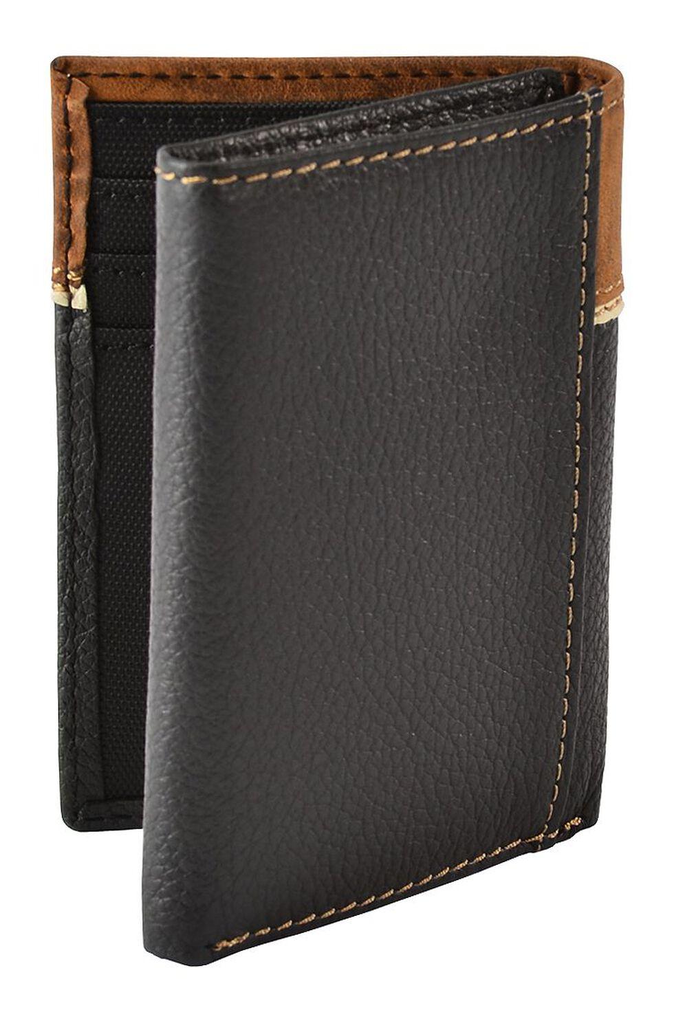 Nocona Leather Overlay Star Concho Tri-Fold Wallet, Black, hi-res