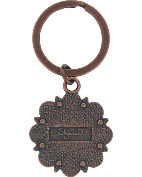 Shyanne Bronze Rhinestone Flower Key Chain , Brown, hi-res