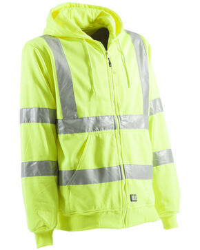 Berne Hi-Visibility Lined Hooded Sweatshirt, Yellow, hi-res