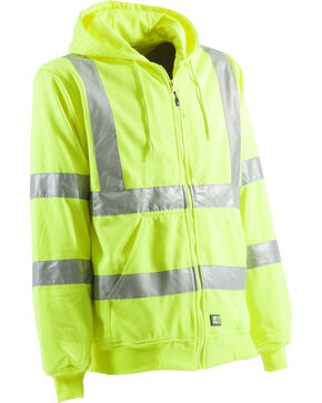 Berne Yellow Hi-Visibility Lined Hooded Sweatshirt - Tall 2XT, Yellow, hi-res