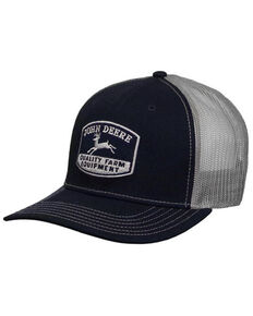John Deere Men's Navy Quality Logo Patch Mesh-Back Ball Cap , Navy, hi-res