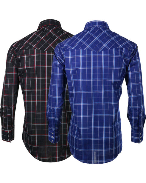 Ely Cattleman Men's Assorted Windowpane Plaid Long Sleeve Shirt, Multi, hi-res