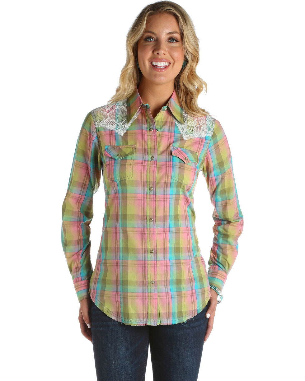 Wrangler Women's Plaid Lace Long Sleeve Western Snap Shirt, Multi, hi-res