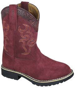 Smoky Mountain Girls' Rae Western Boots - Round Toe , Burgundy, hi-res