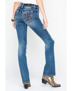 Miss Me Women's Fleur De Lis Boot Cut Jeans, Indigo, hi-res