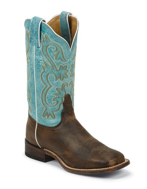 Tony Lama Americana Lavender Cowgirl Boots - Square Toe, Tan, hi-res