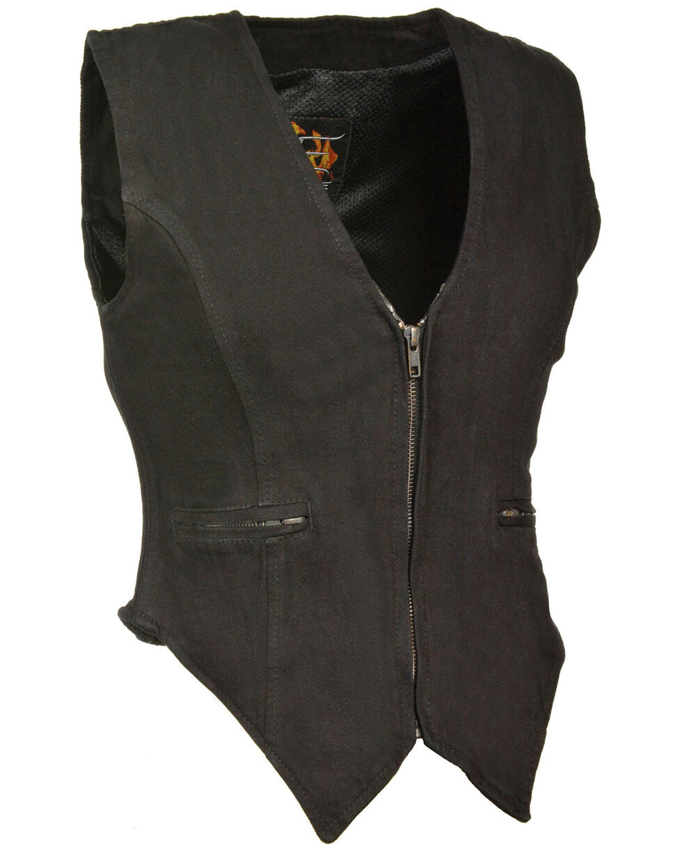 Milwaukee Leather Women's Side Stretch Zipper Front Denim Vest - 3X, , hi-res