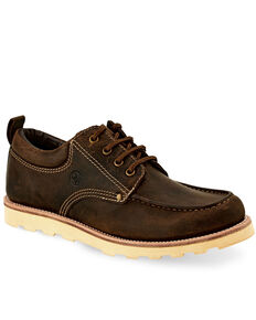 Old West Men's Genuine Leather Outdoor Boots - Moc Toe, Brown, hi-res