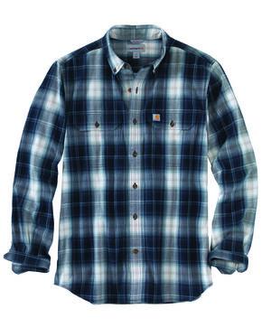 Carhartt Men's Fort Plaid Long-Sleeve Shirt, Navy, hi-res