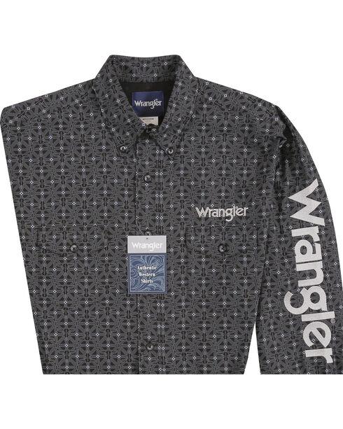Wrangler Men's Black Cowskull Western Logo Shirt - Big and Tall, Black, hi-res