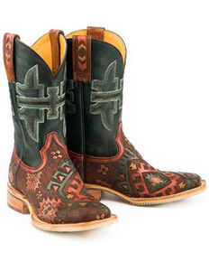 Tin Haul Women's Aztrina Western Boots - Wide Square Toe, Brown, hi-res