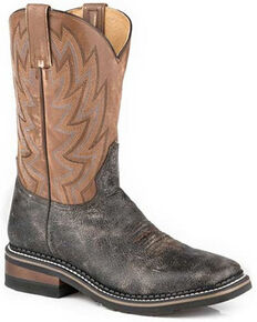 Roper Men's Work It Out Western Boots - Square Toe, Brown, hi-res