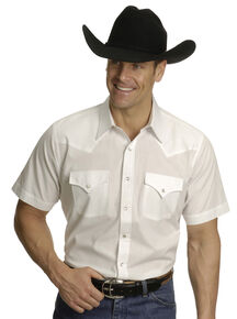 Ely Cattleman Men's Short Sleeve Solid Western Shirt , White, hi-res