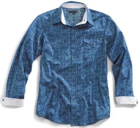 Tin Haul Men's Distressed Paisley Print Snap Western Shirt, Blue, hi-res