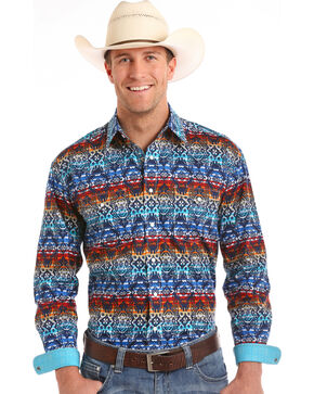 Rough Stock by Panhandle Men's Tohachi Vintage Print Western Shirt, Multi, hi-res