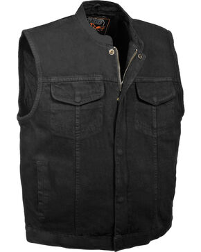 Milwaukee Leather Men's Concealed Snap Denim Club Vest - 5X, Black, hi-res