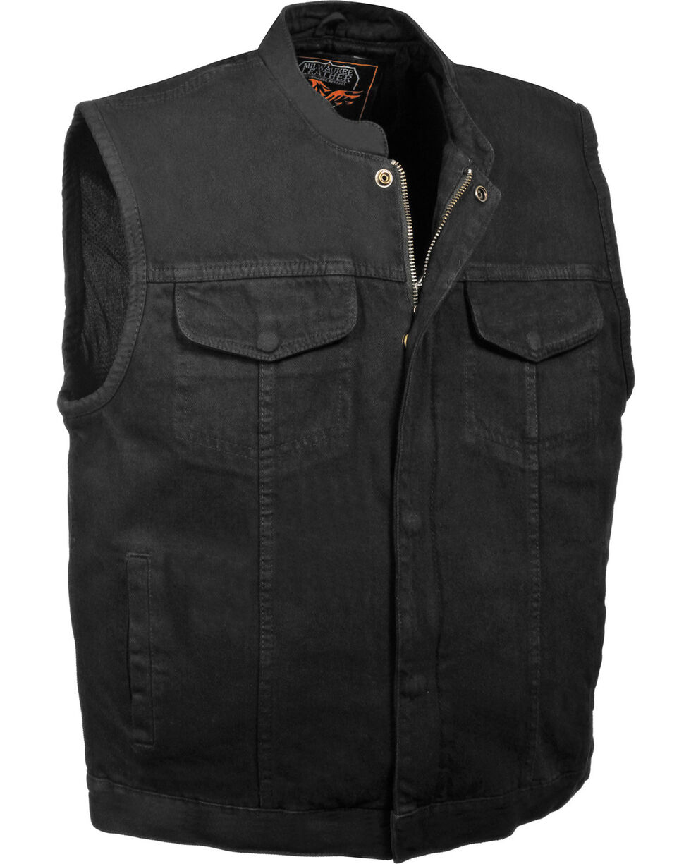 Milwaukee Leather Men's Concealed Snap Denim Club Style Vest - 5X, , hi-res