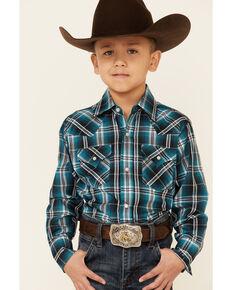 Ely Walker Boys' Navy Plaid Long Sleeve Snap Western Shirt , Navy, hi-res