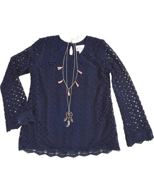 Shyanne Girls' Crochet Long Sleeve Top and Necklace Set, Navy, hi-res
