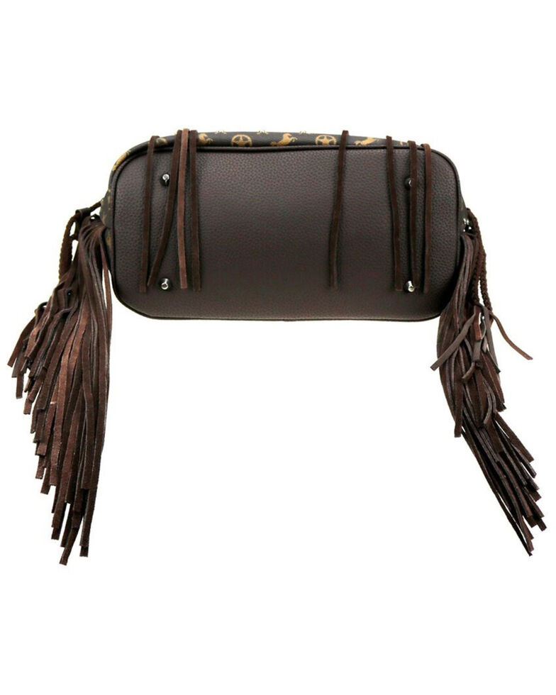 Montana West Women's Signature Monogram Collection Wide Tote Handbag , Coffee, hi-res