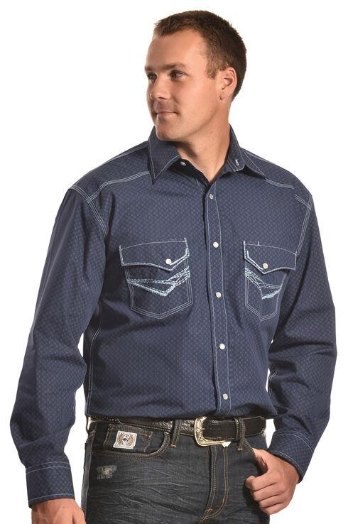 Crazy Cowboy Men's Blue Stitch Western Snap Shirt , Blue, hi-res