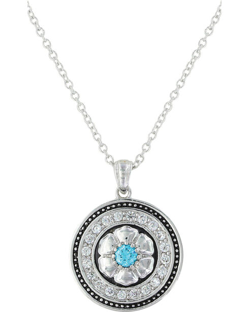 Montana Silversmiths Women's Brilliant Posy Medallion Necklace , Silver, hi-res