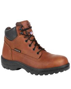 Rocky Men's Worksmart Waterproof Work Boots - Steel Toe, Brown, hi-res