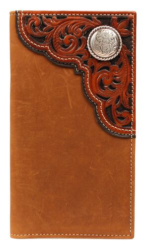Nocona Tooled Overlay & Concho Rodeo Wallet, Aged Bark, hi-res