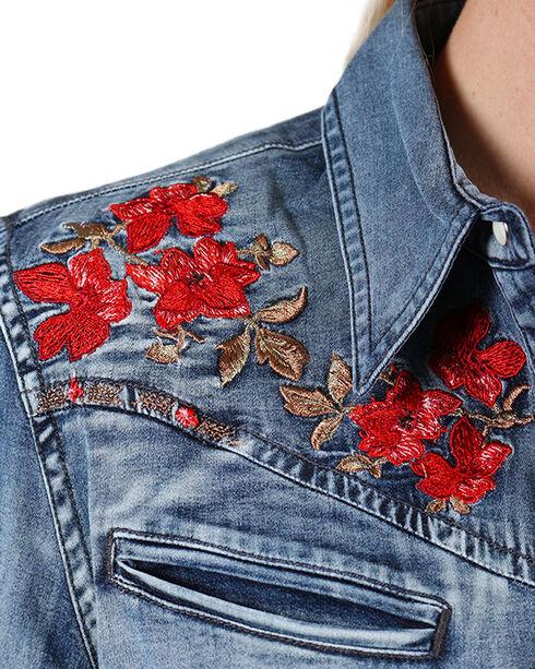 Grace in LA Women's Red Rose Embroidered Denim Shirt, Blue, hi-res