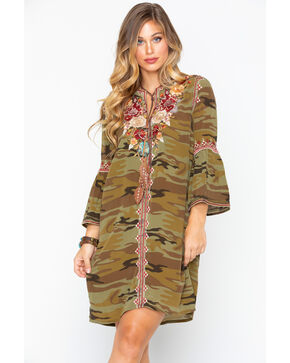 Johnny Was Women's Artemis Flare Sleeve Tunic Dress , Camouflage, hi-res
