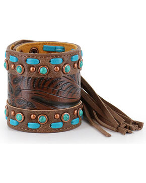 Shyanne Women's Fringe and Filigree Snap Bracelet, Brown, hi-res
