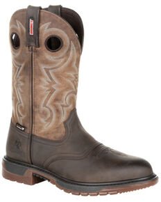 Rocky Men's Original Ride FLX Waterproof Western Work Boots - Soft Toe, Tan, hi-res
