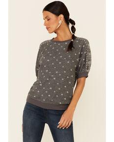 Jolt Women's Charcoal Paisley Dot Print Raglan Short Sleeve Sweatshirt , Charcoal, hi-res