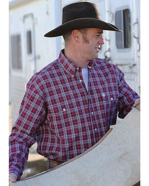 Cinch Men's Red Plaid Long Sleeve Western Shirt , Red, hi-res
