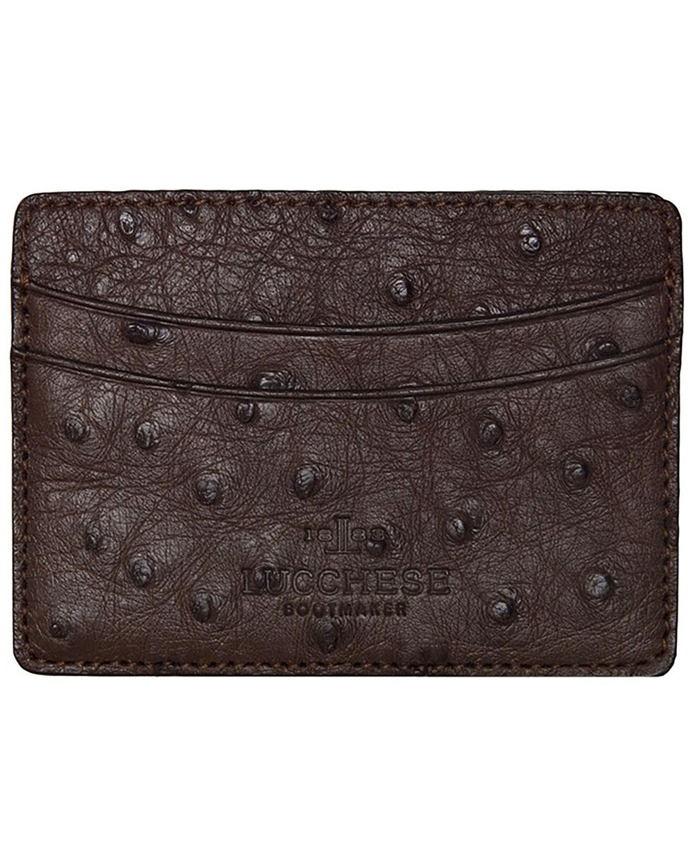 Lucchese Men's Sienna Ostrich Credit Card Case, Brown, hi-res