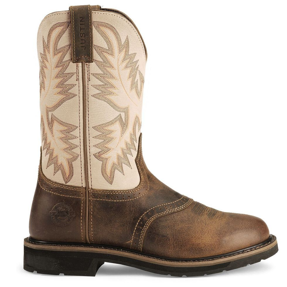 Justin Men's Stampede Superintendent Creme Waterproof Work Boots - Soft Toe, Waxed Brn, hi-res