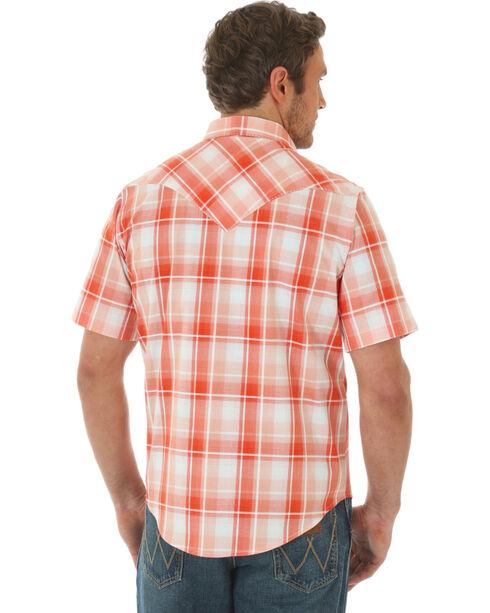 Wrangler Men's Orange Plaid Short Sleeve Jean Shirt , Orange, hi-res