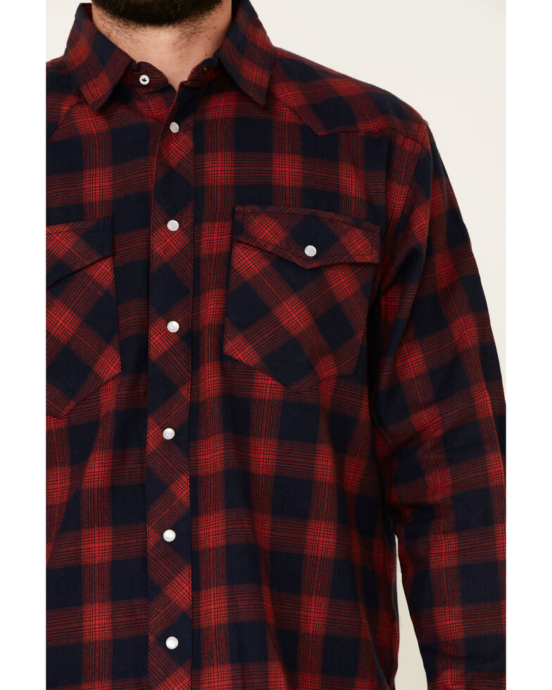 Cotton & Rye Outfitters Men's Navy Plaid Long Sleeve Western Flannel Shirt , Navy, hi-res