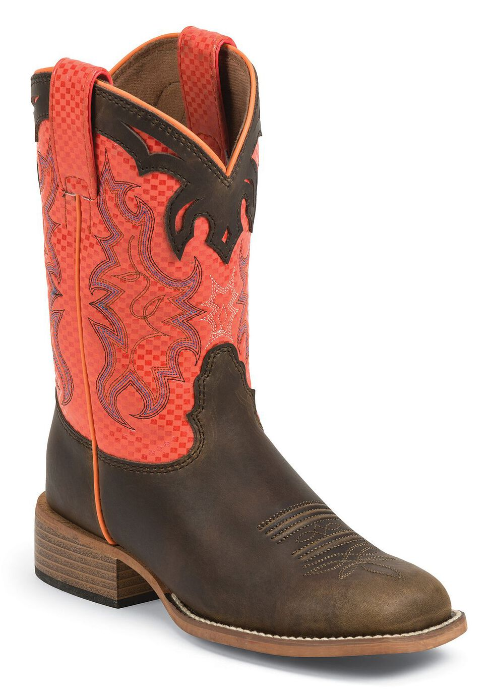 Justin Bent Rail Kids' Orange Diamond Apache Cowboy Boots - Square Toe, Dark Brown, hi-res